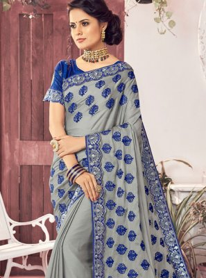 Faux Chiffon Grey Trendy Saree