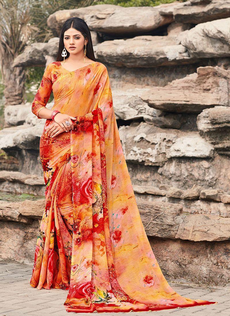 Faux Chiffon Multi Colour Classic Saree