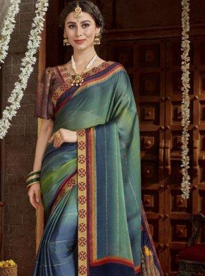 Faux Chiffon Multi Colour Printed Classic Saree