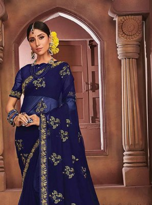 Faux Chiffon Navy Blue Embroidered Classic Designer Saree