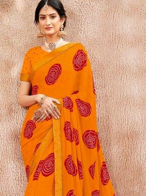 Faux Chiffon Orange Designer Saree
