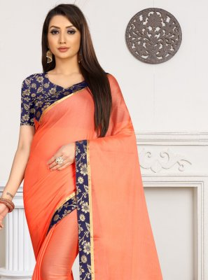 Faux Chiffon Orange Lace Classic Saree