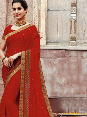 Faux Chiffon Patch Border Classic Saree in Red