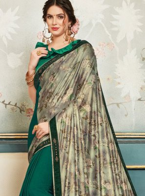 Faux Chiffon Patch Border Green and Silver Classic Saree