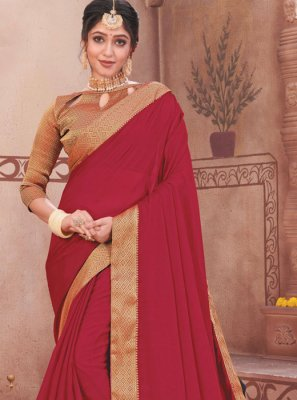 Faux Chiffon Patch Border Maroon Designer Traditional Saree