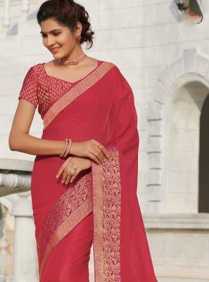 Faux Chiffon Patch Border Pink Classic Saree