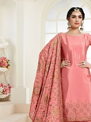 Faux Chiffon Pink Embroidered Designer Palazzo Suit
