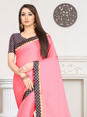 Faux Chiffon Pink Lace Trendy Saree
