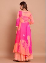 Faux Chiffon Pink Printed Readymade Designer Gown