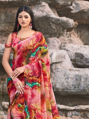 Faux Chiffon Printed Multi Colour Classic Saree