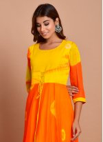 Faux Chiffon Printed Orange Designer Gown