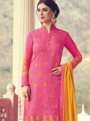 Faux Chiffon Printed Pink Salwar Suit