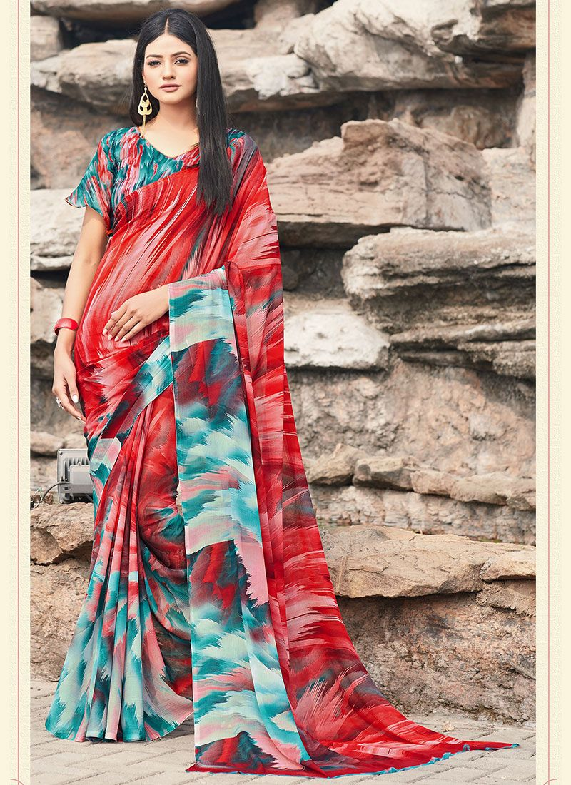 Faux Chiffon Printed Printed Saree in Blue and Red