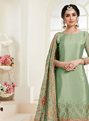 Faux Chiffon Resham Designer Palazzo Suit in Green