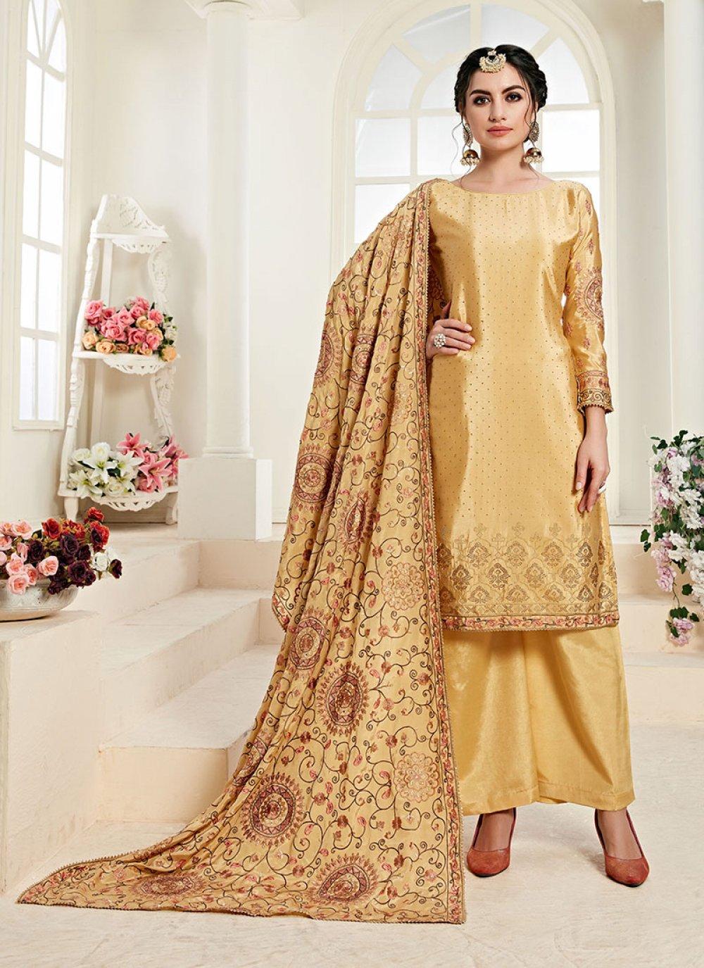 Faux Chiffon Resham Yellow Designer Palazzo Suit