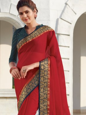 Faux Chiffon Traditional Designer Saree in Red
