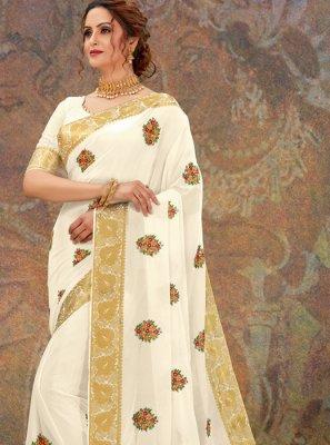 Faux Chiffon White Classic Designer Saree