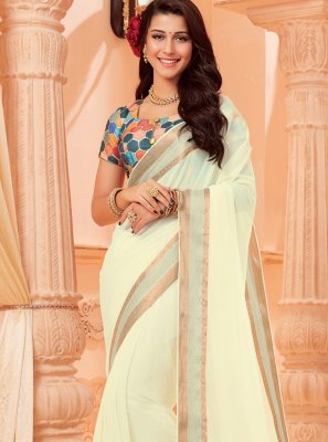 Faux Chiffon Woven Classic Saree in Off White