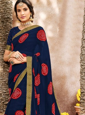 Faux Chiffon Woven Designer Saree in Navy Blue