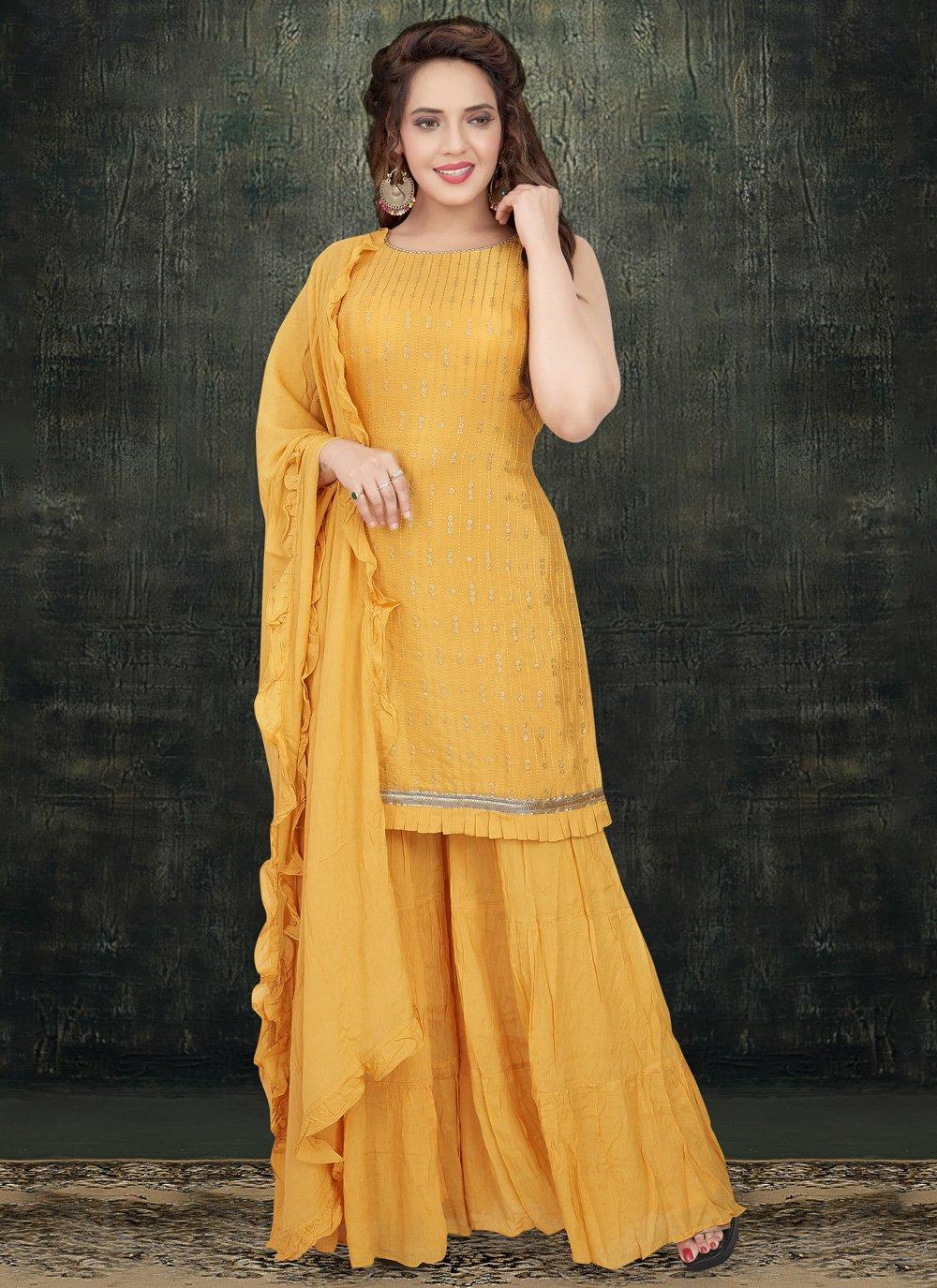 Faux Chiffon Yellow Sequins Designer Palazzo Salwar Kameez
