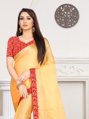 Faux Chiffon Yellow Traditional Saree
