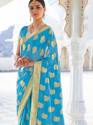 Faux Chiffon Zari Firozi Designer Traditional Saree