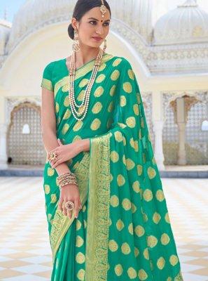 Faux Chiffon Zari Sea Green Designer Traditional Saree