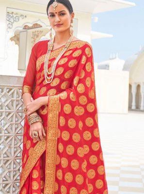 Faux Chiffon Zari Traditional Saree