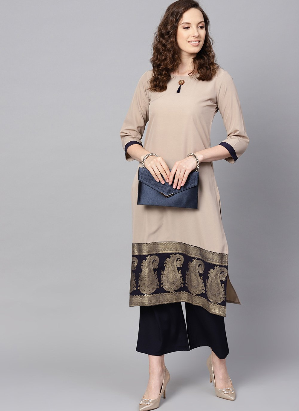 Faux Crepe Abstract Print Beige Casual Kurti