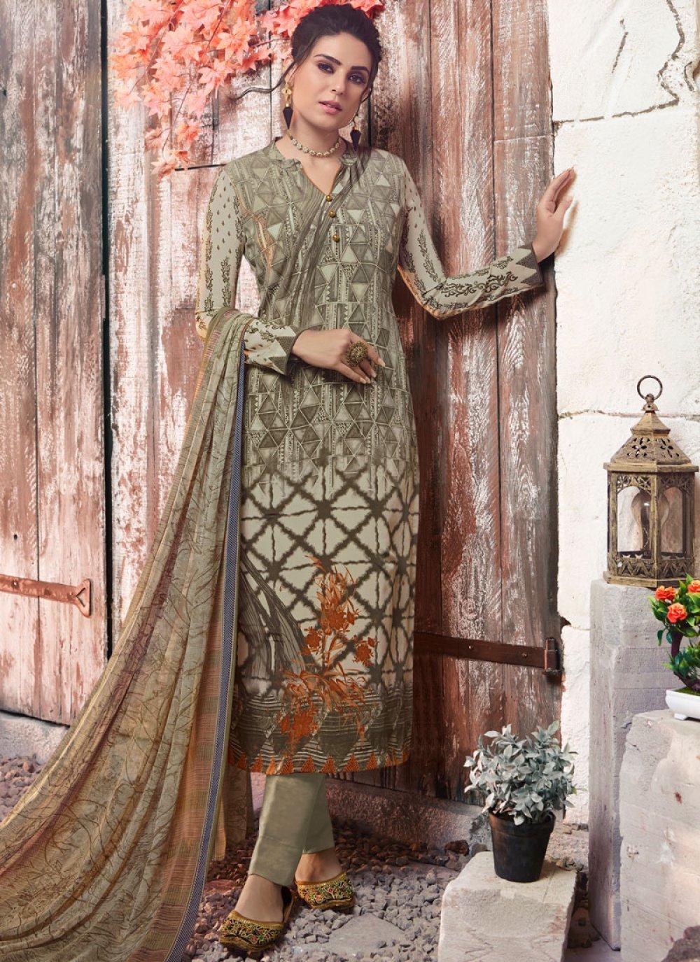 Faux Crepe Abstract Print Designer Pakistani Suit in Multi Colour