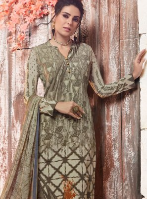 Faux Crepe Abstract Print Designer Pakistani Suit in Multi Colour