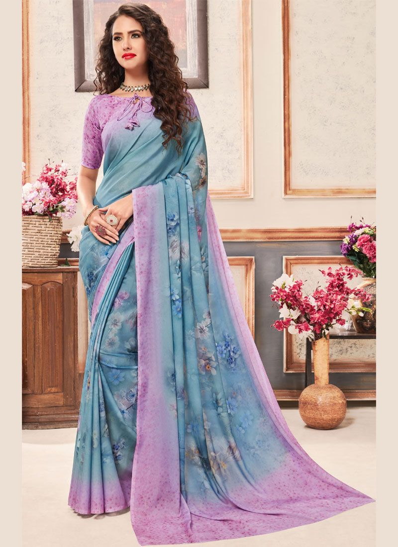 Faux Crepe Abstract Print Printed Saree in Multi Colour