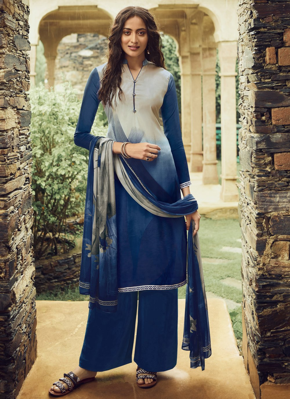 Faux Crepe Blue and Cream Pakistani Salwar Suit