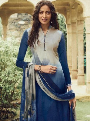 Faux Crepe Blue and Cream Pakistani Salwar Suit