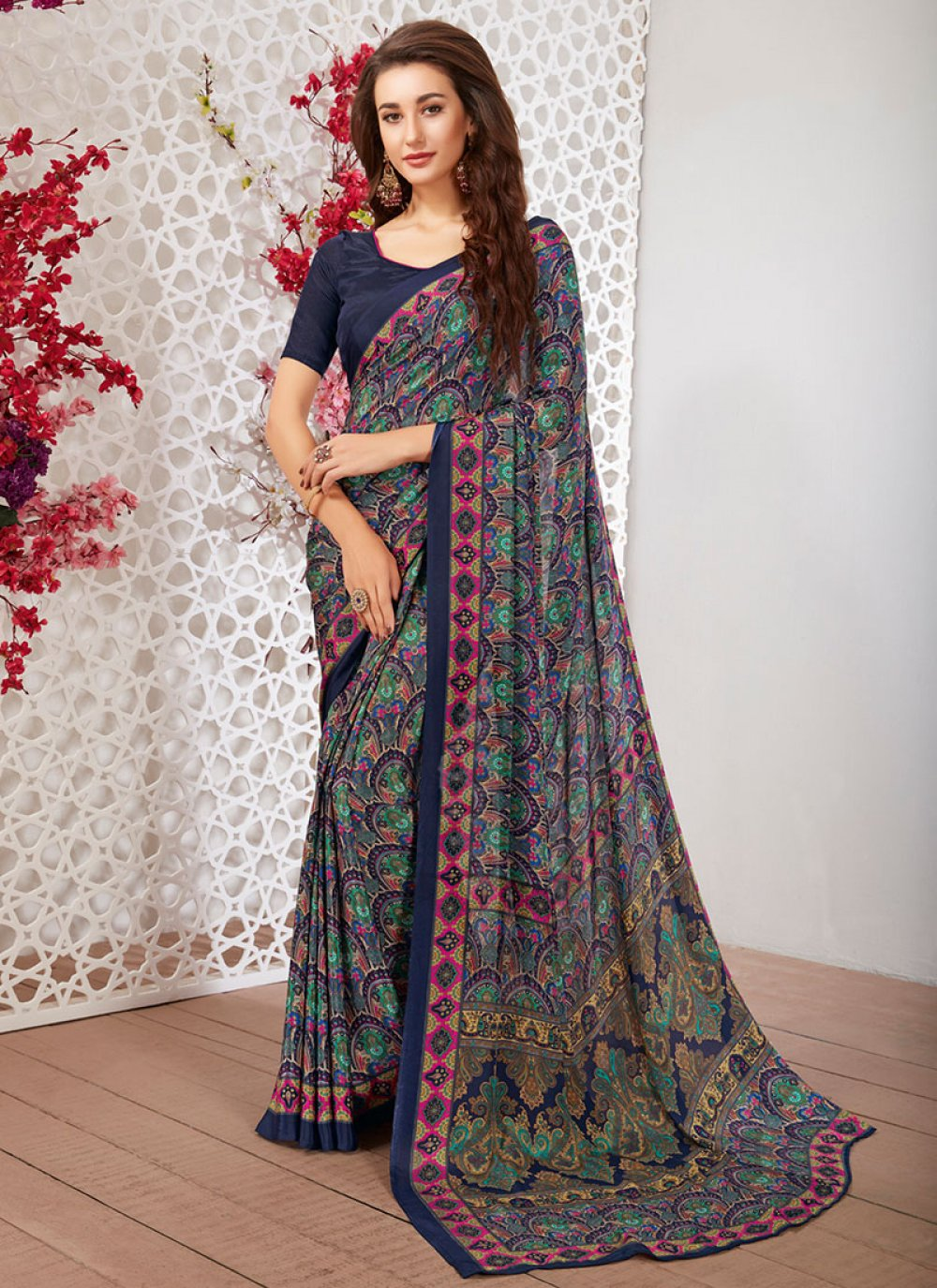 Faux Crepe Blue Casual Saree