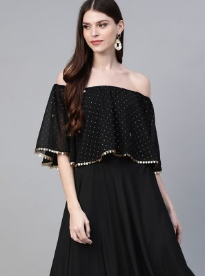 Faux Crepe Casual Kurti in Black