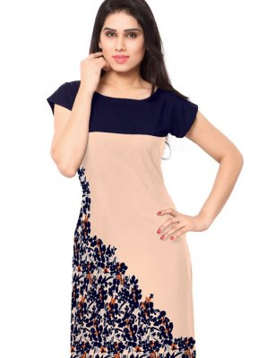 Faux Crepe Casual Kurti in Multi Colour
