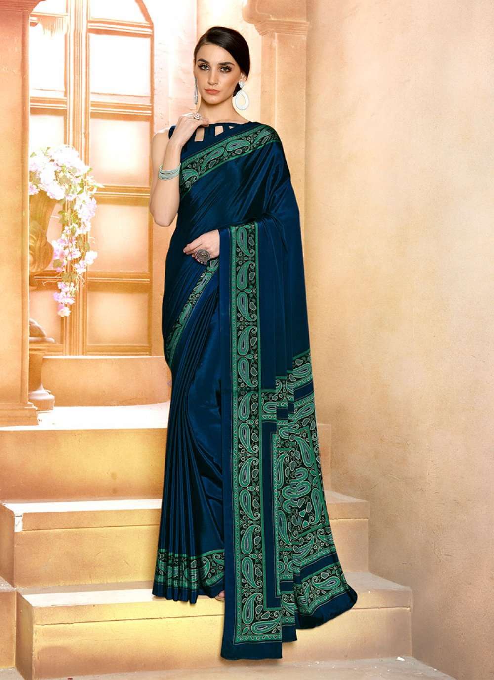 Faux Crepe Casual Saree in Navy Blue