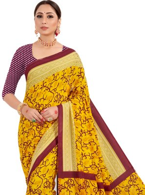 Faux Crepe Casual Traditional Saree