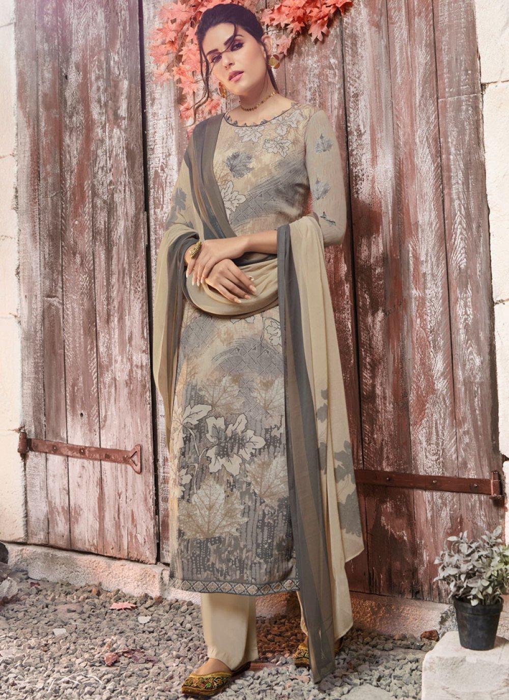 Faux Crepe Ceremonial Designer Pakistani Suit