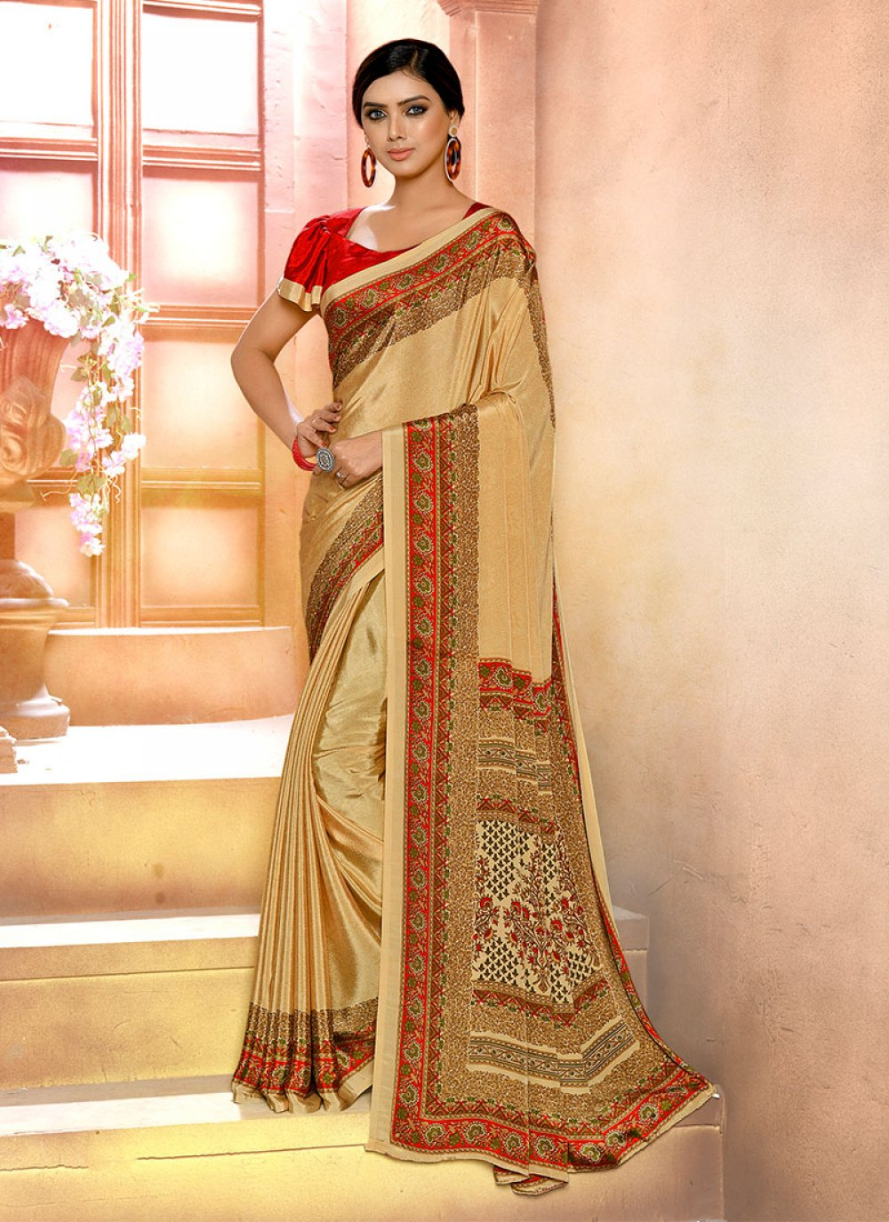Faux Crepe Cream Printed Printed Saree