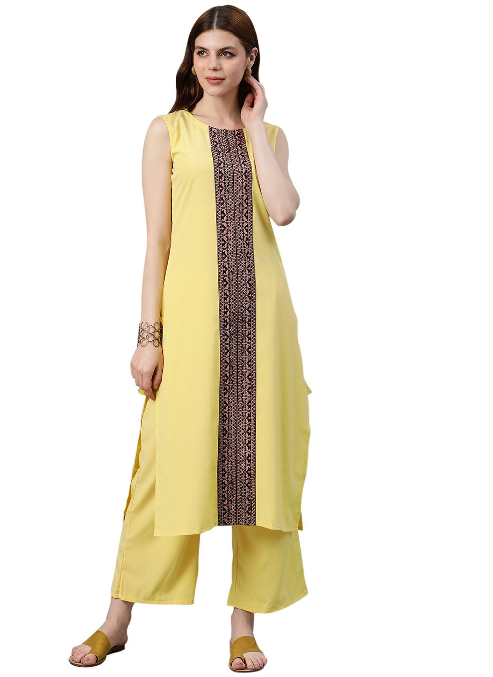 Faux Crepe Designer Kurti in Yellow