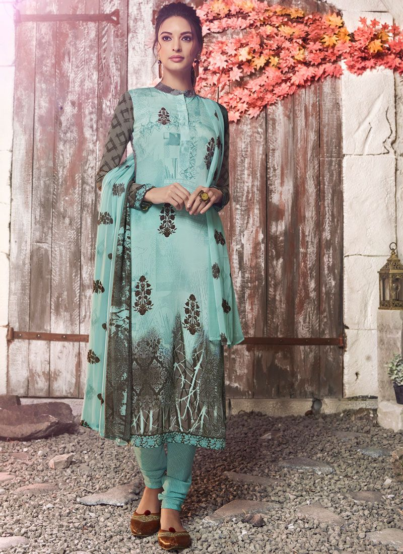 Faux Crepe Designer Pakistani Suit in Blue