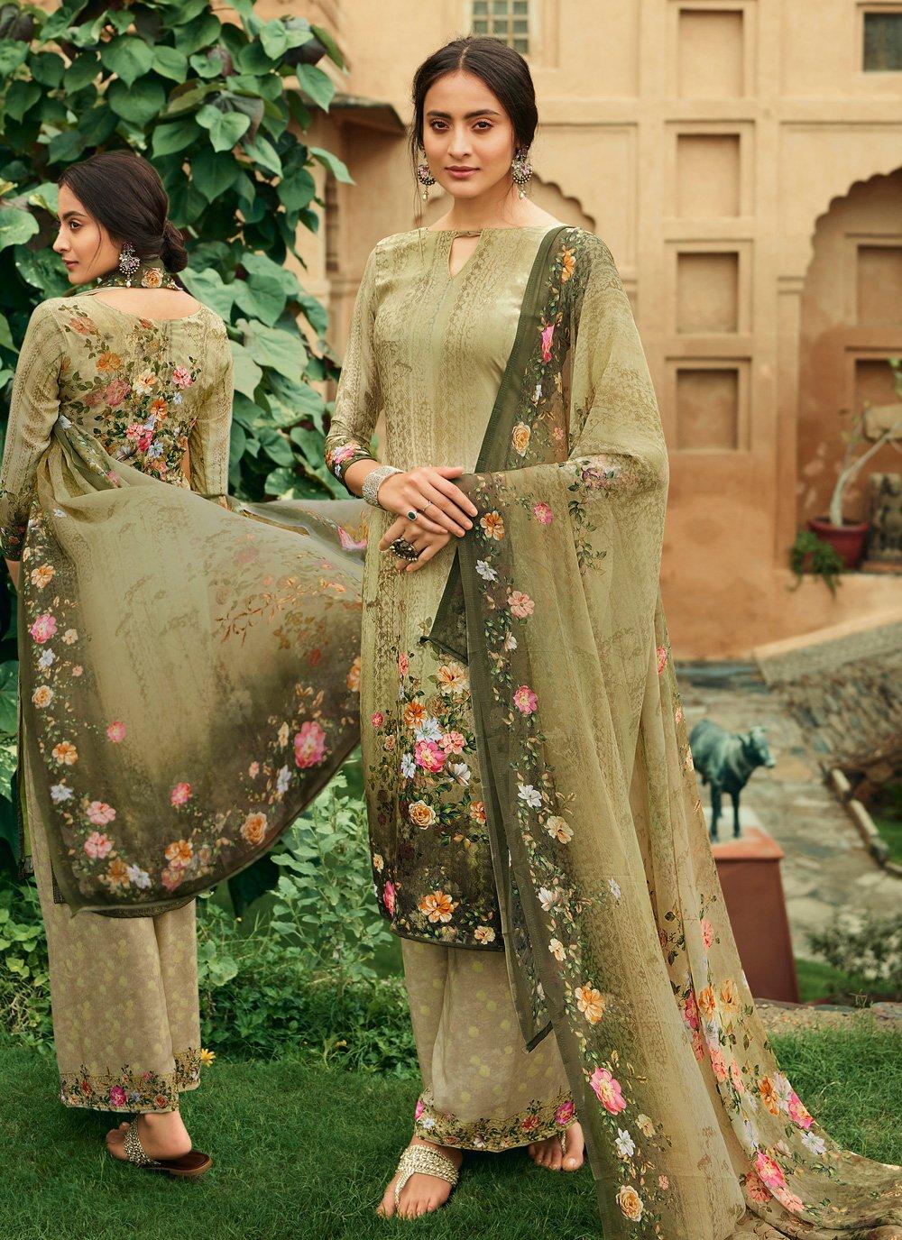 Faux Crepe Digital Print Palazzo Salwar Suit