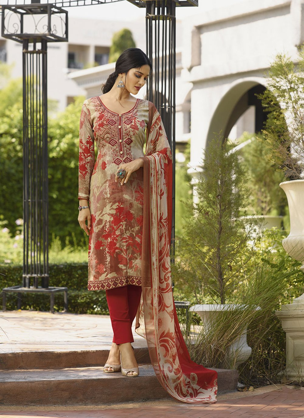 Faux Crepe Embroidered Beige Trendy Suit