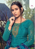 Faux Crepe Embroidered Blue Trendy Patiala Salwar Kameez