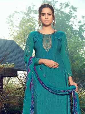 Faux Crepe Embroidered Blue Trendy Patiala Salwar Kameez