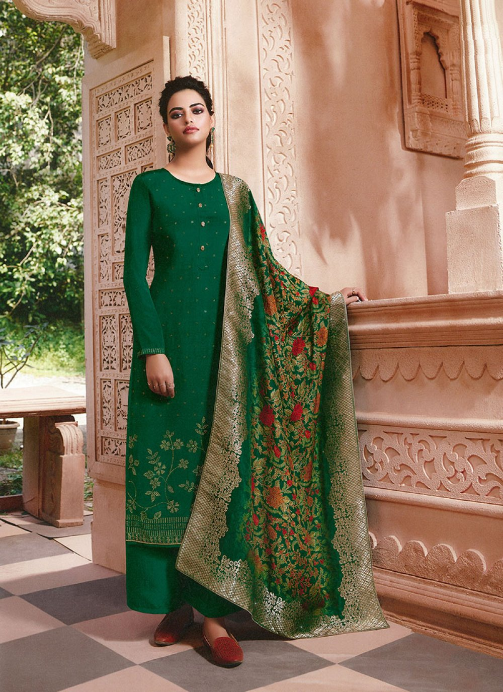 Faux Crepe Embroidered Green Palazzo Salwar Kameez