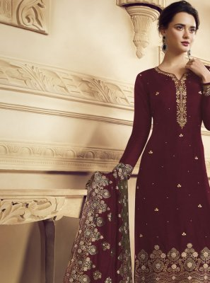 Faux Crepe Embroidered Maroon Trendy Straight Salwar Kameez