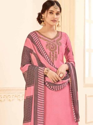 Faux Crepe Embroidered Pink Salwar Suit